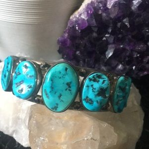 Jewelry - Large Sterling Silver Turquoise Cuff